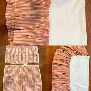 Ralph Lauren Hawk Springs Red Stripe Pillow Shams Bed Skirts Dust Ruffles Twin
