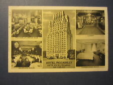 Old Vintage 1939 HOTEL PICCADILLY - N.Y. Postcard - Interior Views - BAR / LOBBY