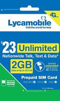 Lycamobile $23 Plan Prepaid 1st Month Free SIM Card 2GB 4G Unlimited Talk, Text