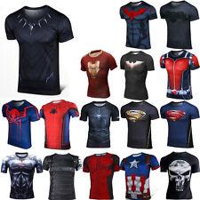 Comics SUPERHERO Herren Superhelden Kurzarm T-shirt Tops Casual Shirt Laufshirt