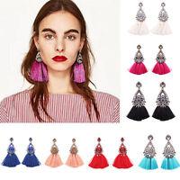 Women Fashion Rhinestone Crystal Long Tassel Drop Dangle Thread Fringe Earrings
