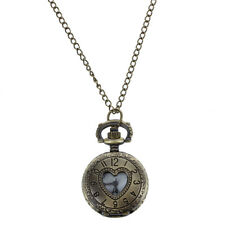 New Cut Out Heart Hunter Case Necklace Pocket Watch Bronze Tone For Ladies Y0N1