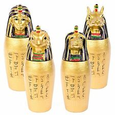 Set of 4 Gold Egyptian Canopic Jars Ancient Egypt Ornament Figure Relic Gift