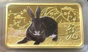 2011 The Perth Mint 1oz Gold Rectangular Proof Coin Rabbit Lunar Calendar Series