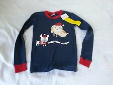 NWT GYMBOREE Boy's 12 Blue Dog Howl-adays 100% Cotton Long Sleeve Pajama Shirt