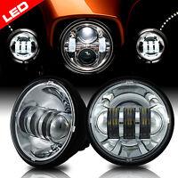 4-1/2 4.5 Inch Chrome LED Spot Fog Passing Light Lamp for Harley Davidson Bikes