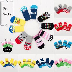 4pcs Warm Puppy Dog Shoes Soft Pet Knits Socks Cute Cartoon Anti Slip Socks #J2
