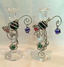 2 Crystal Candle Stick Holders wrapped in Aluminum Jewelry & Stones