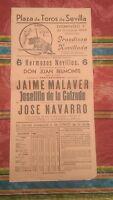 1950 Cartel Plaza de Toros Sevilla Ganaderia Don Juan Belmonte Jose Navarro.....
