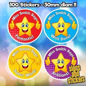 100 Personalised School Teachers Children Parents Well Done Reward label sticker