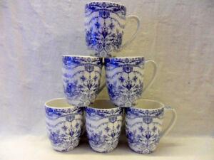 set of 6 china Aspen mugs in Blue Storey design