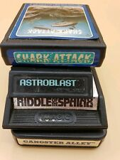 4 Atari Games Lot Gangster Alley Shark Attack Astroblast Riddle Of Spinx Tested