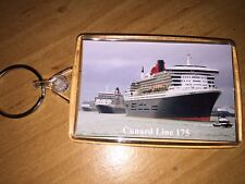 Cunard Line 3 Queens 175th Anniversary KEYRING (Large) Cruise Ship Liner a