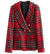 red womens Tweed wool suit  jacket coat gold button wool suit jacket outwear
