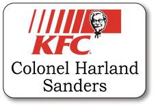 COLONEL SANDERS KFC NAME BADGE FINGER LICKIN BUTTON HALLOWEEN COSTUME PIN BACK