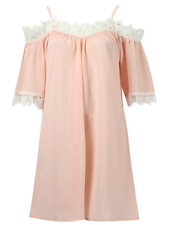 Blush Peach Cold Shoulder Crochet Lace Swing Dress Summer Dress  8 10 12 14