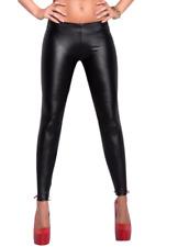 Women's Black PVC Faux Leather Wet Look Leggings Fancy Dress Size UK 8 & 10