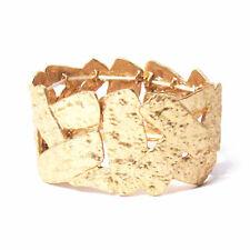 Stretchy Cuff Bracelet Hammered Shiny Gold