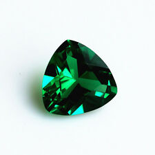 5.37ct Unheated Emerald SAPPHIRE 10MM Trillion Cut AAA COLOR LOOSE GEMSTONE