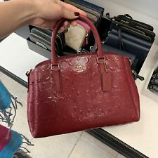 New With Tags Coach Sage Carryall in Signature Leather  F31486 Cherry Red