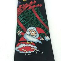 Santa Christmas Black Tie w/ Gifts Ornaments Yule Holiday Polyester Mens Necktie