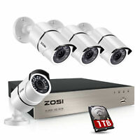ZOSI H.265+ 8 Channel 5MP NVR 1T HDD 1080P POE IP Outdoor Security Camera System
