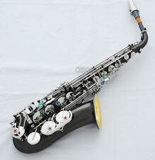 Professional Black Nickel Silver Alto Saxophone Gold Bell Sax ABALONE keys +Case