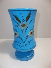 Antique French Blue Opaline Glass Enamel Painted VASE Flowers Daisies 8.75""