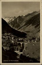 Göschenen Kanton Uri Postkarte 1937 gelaufen Gesamtansicht mit Dammagletscher
