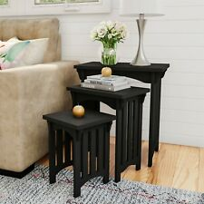 Set of 3 Nesting Tables Mission Style Legs Living Room Wooden Accent End Tables