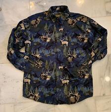 Cabela's Elk Antler Blue Long Sleeve Button Down Shirt - Medium Mens Cotton