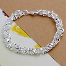 Regno Unito SILVER PLATED Interlinking CATENA Bracciale ROMANTICO CERCHI DELL' AMORE