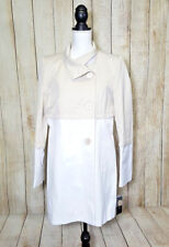 Tahari Womens Anya Coat Trench Beige White Colorblock Cotton Blend Size Large