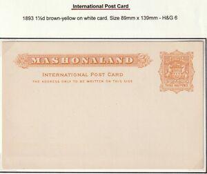 c.1893 MASHONALAND UNUSED 1½d INTERNATIONAL POSTAL STATIONERY CARD - RHODESIA