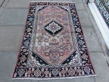 Shabby Chic Worn Vintage Hand Made Traditional Pink Blue Wool Rug 187x118cm