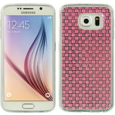 For Samsung Galaxy S6 - HARD TPU RUBBER GUMMY CASE COVER PINK BLING DIAMOND GEL