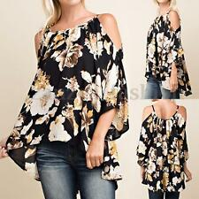 Women Floral Print 3/4 Sleeve Off Shoulder Loose Casual Tops T Shirt Blouse Plus