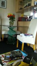 Glass table round with 4 dining chairs