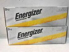 Lot Of 2 Energizer Industrial D12 Alkaline Batteries LR20 (N)