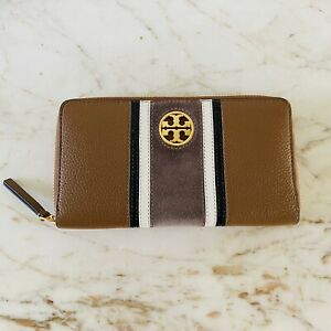 TORY BURCH Brown White Back Soft Leather Gold Logo Zip Continental Wallet