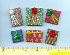 6 Dollhouse / Barbie Miniature Christmas Gift Wrapped Presents Pretty Bows