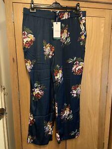 Brand New Joules Satin Nightwear Navy Peony Ladies Bella Pyjama Bottoms Size L