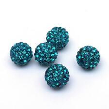 10 Stück Strassperlen Beads Perlen ShamballaSmaragd 12 mm (1389)