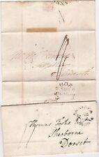 * 1814/25 2 DIFF SWANSEA CIRC MILEAGE PMK WRAPPER & LETTER >FALMOUTH & SHERBORNE