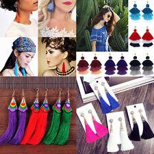 Fashion Rhinestone Long Tassel Dangle Earrings for Women Thread Fringe Drop