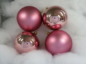 4 wunderschöne Weihnachtskugeln, 10cm, mundgeblasen,Glas, rosa, rosenholz (S21)