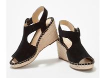 Marc Fisher Espadrille Wedge Sandals Sakae Black Suede Women's Size 11M
