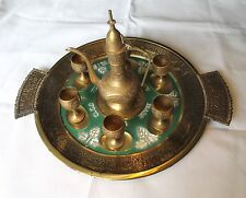 Tray with 6 cups and wine jar for the Passover. Rare.