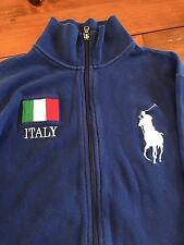 Polo By Ralph Lauren Men's Blue Zip Rugby Jacket Italy 3 Big Pony