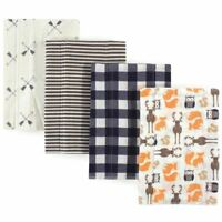 Hudson Baby Girl Flannel Burp Cloth, 4-Pack, Forest